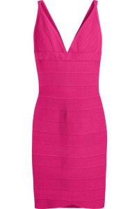 Hervé Léger bright hot-pink stretch bandage dress